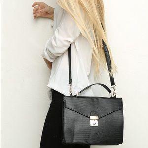 Brandy Melville Black Faux Leather Shoulder Bag